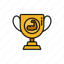 achievement, bodybuilding, competition, gym, muscle, trophy, winner icon