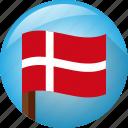 flag, denmark, circle, pole