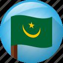 circle, flag, mauritania, pole icon