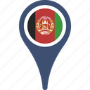 afghanistan, country, flag, map, pin icon