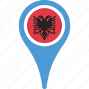albania, country, flag, location, pin icon