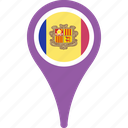 andorra, andorra flag pin, flag, map, pin icon