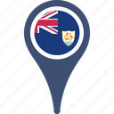 anguilla, country, flag, map, pin, world icon