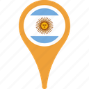 argentina, country, flag, map, pin icon