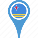 aruba, aruba flag pin, flag, map, pin icon