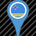 aruba, aruba flag pin, flag, map, pin icon