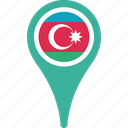 azerbaijan, azerbaijan flag pin, flag, map, pin icon