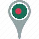 bangladesh, country, flag, map, pin icon
