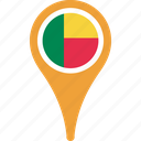 benin, country, flag, map, pin icon