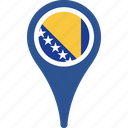 bosnia, country, flag, herzegovina, location, map icon