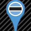 botswana, country, flag, map, pin icon