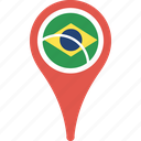 brazil, country, flag, map, pin icon