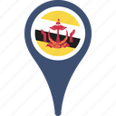 brunei, country, flag, map, pin icon