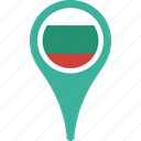 bulgaria, flag, country, flags, map, pin