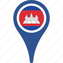 cambodia, country, flag, map, pin icon