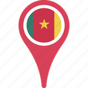 cameroon, country, flag, flags, map, pin icon