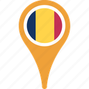 chad, country, flag, flags, pin icon