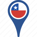 chile, country, flag, national, pin icon
