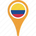 colombia, country, flag, map, pin icon
