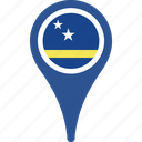 country, curacao, flag, map, pin icon