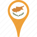 country, cyprus, flag, map, pin icon