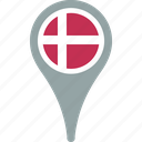 country, denmark, flag, map, pin icon