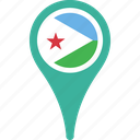 djibout flag pin, djibouti, flag, map, pin icon