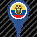 ecuador, flag, country, flags, map, pin