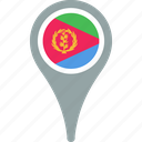 country, eritrea, flag, map, pin icon