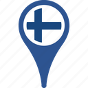 country, finland, flag, map, pin icon