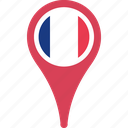 country, flag, france, location, map, pin icon