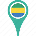 country, flag, gabon, location, pin icon
