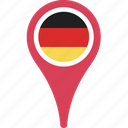 country, flag, germany, map, pin icon