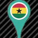flag, ghana, country, map, pin