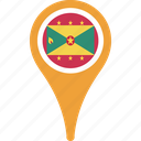 country, flag, grenada, location, map, national, pin icon