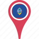 country, flag, guam, map, pin icon