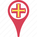 country, flag, guernsey, map, pin icon
