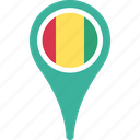 country, flag, guinea, map, pin icon