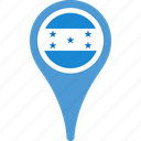 country, flag, honduras, location, map, pin icon