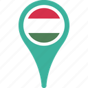 flag, hungary, location, map, pin icon
