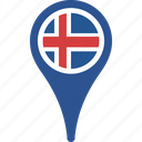 country, flag, iceland, location, map icon