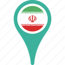 country, flag, iran, map, pin icon