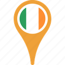 country, flag, ireland, map, pin, world icon
