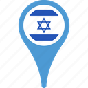 country, flag, israel, map, pin icon