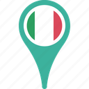 country, flag, italyl, map, navigation, pin icon