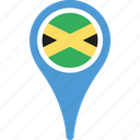 country, flag, jamaica, map, pin icon