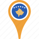 flag, kosovo, country, flags, map, pin