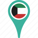 country, flag, kuwait, map, pin icon