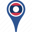 country, flag, flags, laos, map, pin icon