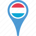country, flag, flags, luxembourg, pin icon